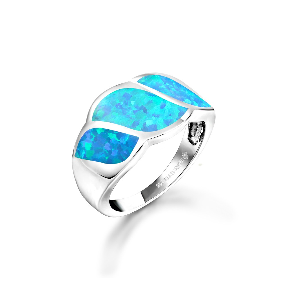 DORMITH Trendy 925 Sterling Silver Created White Red/blue Fire Opal Wing Shape Rings  For Women Jewelry