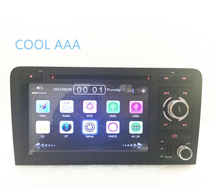2din car radio dvd gps player for Audi A3 S3 2004-2008 Car radio Stereo  With BT Ipod Steering wheel 3G