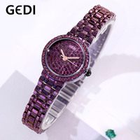 GEDI Lady Clock Luxury Rhinestone Quartz Women Wristwatch Fashion Stainless Steel Strap Watches for Female Women's Watch Dress