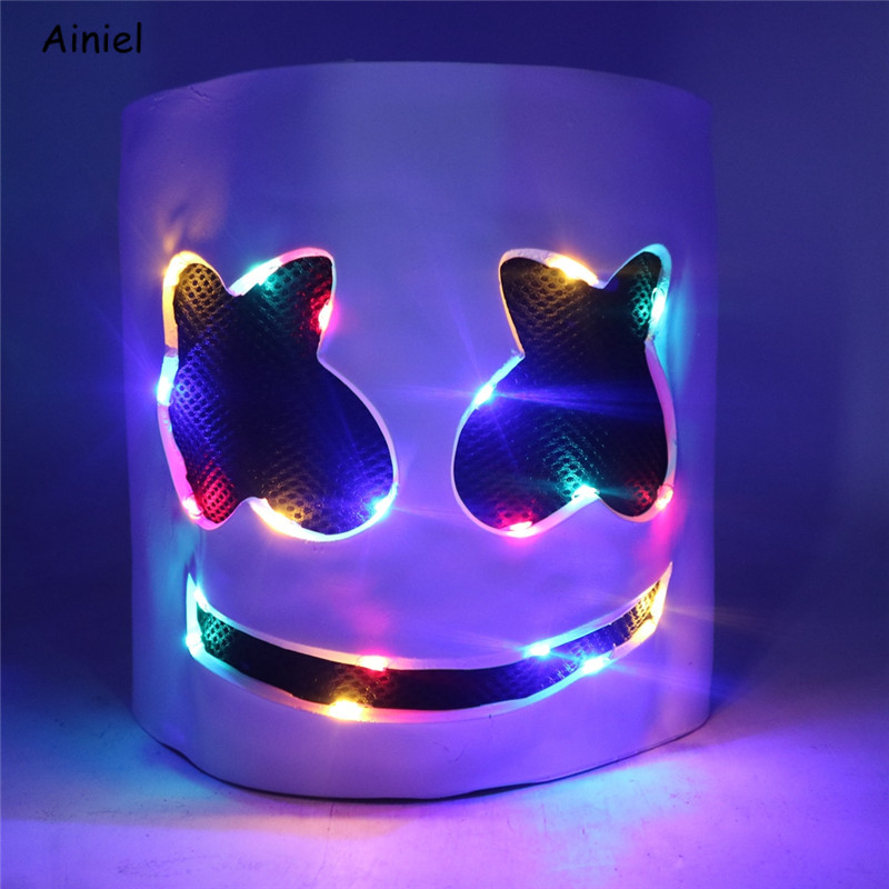 2019 MarshMello Mello DJ Mask LED Lights Helmet for Halloween Cosplay Party Bar