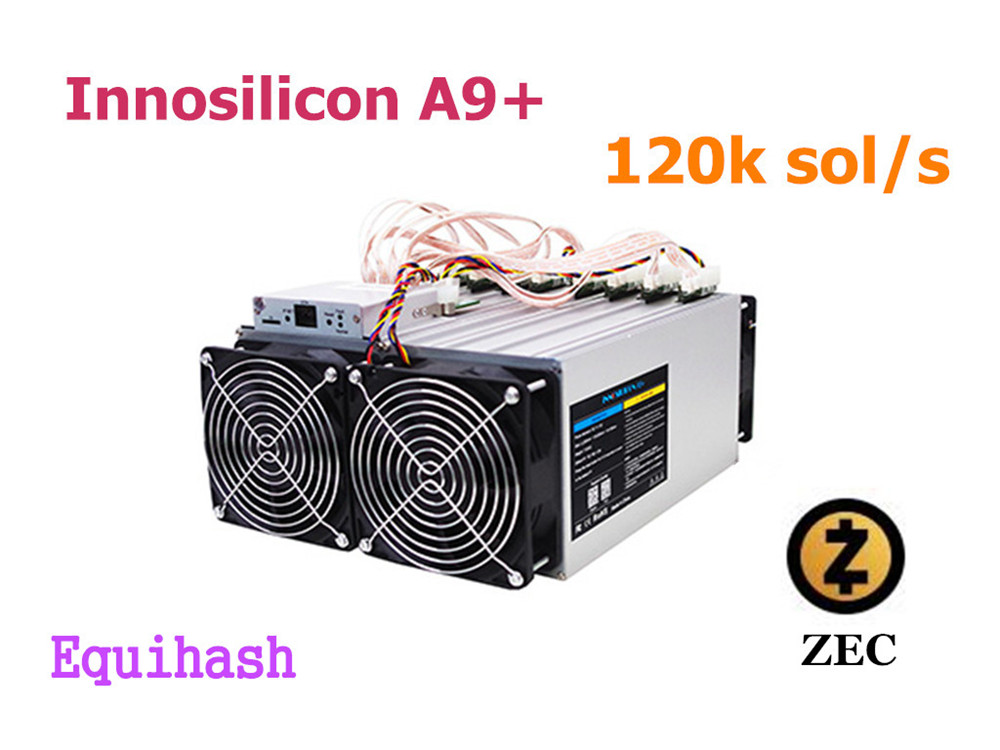 Used Zcash Miner ZCL ZEC Asic Mining Machine Innosilicon A9+ ZMaster 120k sol/s Equihash Miner Better Than A9 Antminer Z9 Z11
