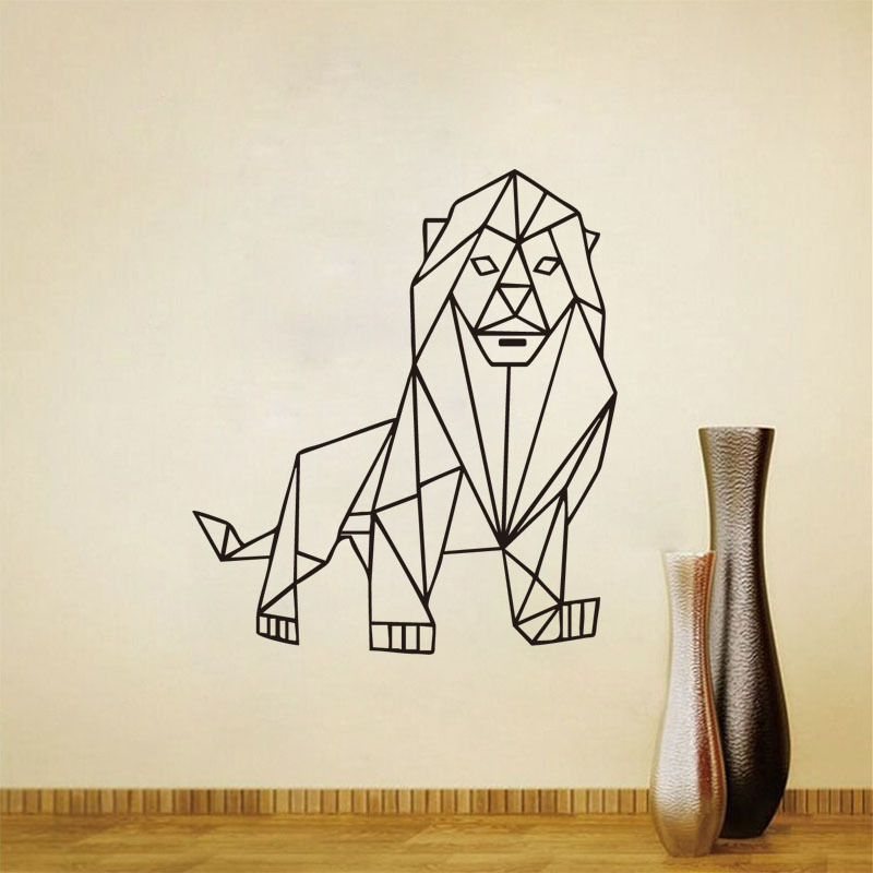 Animals Decal Mighty Lion Outline Geometric Wall Sticker