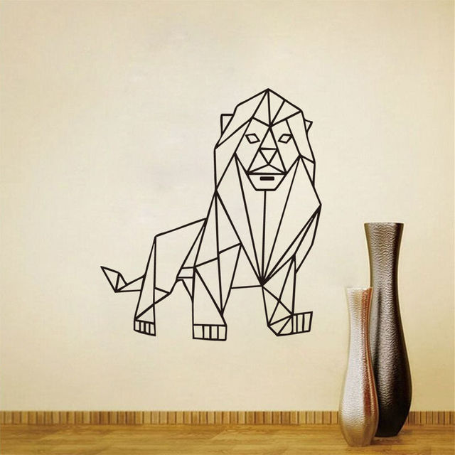 Animals Decal Mighty Lion Outline Geometric Wall Sticker Grandiose  Removable Vinyl Wall Decals Home Decoration Accessories