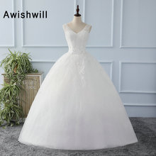 New Real Picture White Wedding Gowns V Neck Sparkly Beadings Ball Gown Bridal Dress Floor Length Princess Cheap Wedding Dress