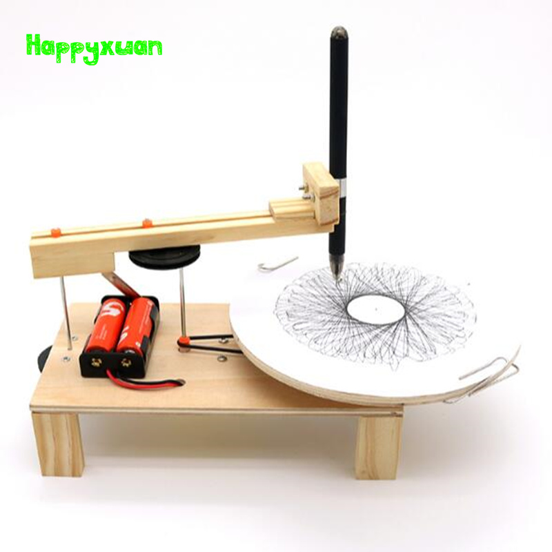 Happyxuan DIY Electric Plotter Drawing Robot Kit Physics Scientific Experiment Set Creative Inventions Assemble Model Toy Kids