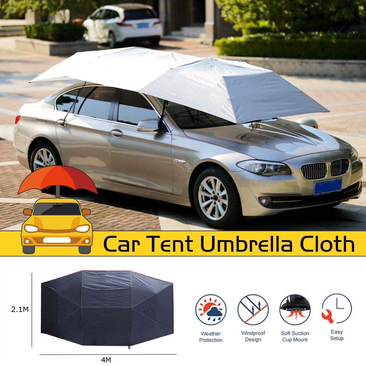 Parapluie de voiture ombre de soleil complètement automatique en plein air voiture véhicule tente parapluie parasol couverture de toit imperméable Anti UV tissu remplaçable