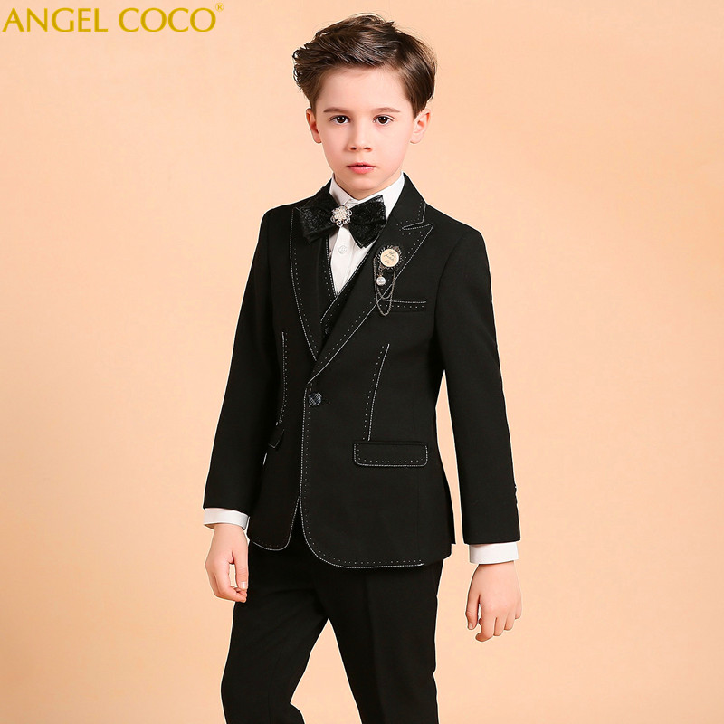 Kids School Suit Boys Formal Wedding Blazer Boys Prom Suits Performance Suit Party Tux Vest Coat Costume Garcon Terno Infantil pyjtrl tide men chinese style red gold dragon design casual suit jacket plus size singer costume wedding groom prom party blazer