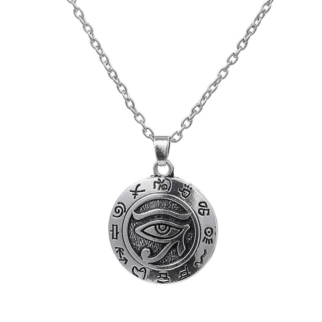 My shape egyptian eye of ra horus vintage silver plated charm my shape egyptian eye of ra horus vintage silver plated charm necklace pendant lariat jewelry aloadofball Images