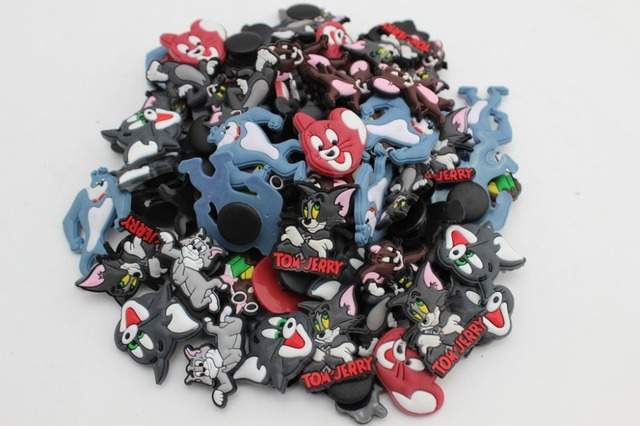 aa4b8d1da8ea9 80 Pcs Tom and Jerry pvc Shoe accessories Shoe Charms Shoe Decorations for Croc  Bracelet Wristband Kid Gift