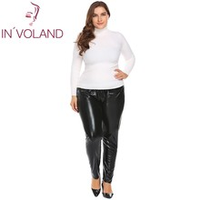 Big Size Women Faux Leather Legging Pant XL-5XL Sexy Lightweight Stretch Large Party Club Pencil Trousers Plus Size