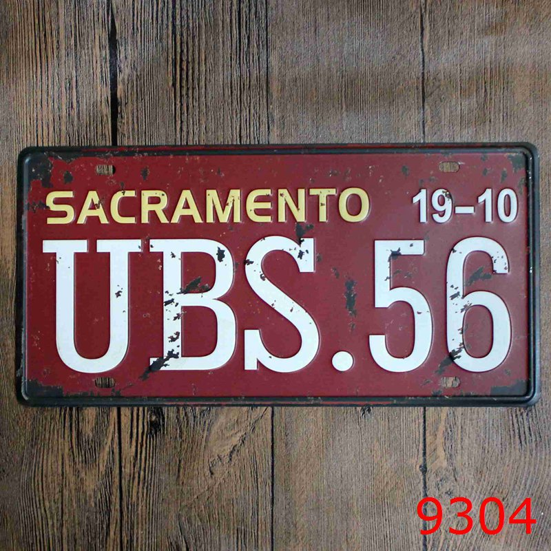 Car number  SACRAMENTO BUS.56  License Plates plate Vintage Metal tin sign Wall art craft painting 15x30cm