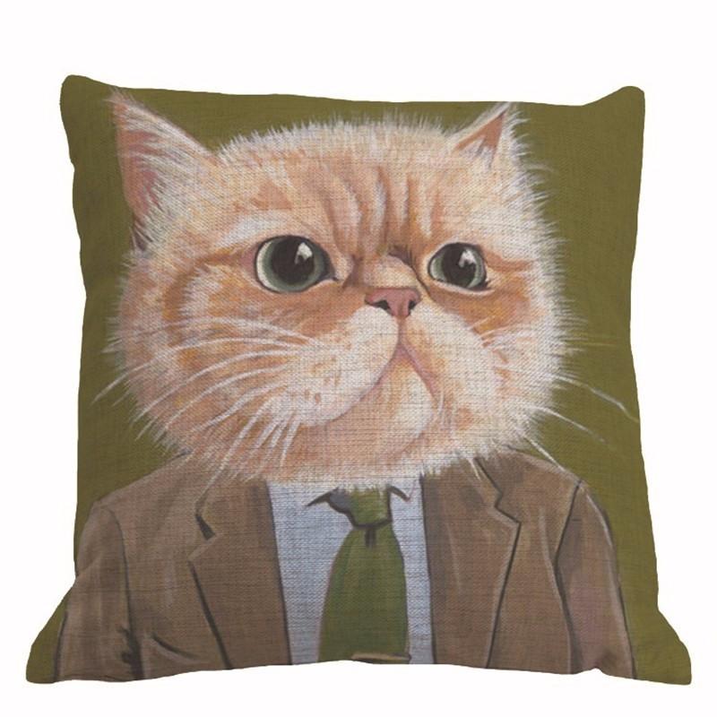Vintage Family Decorative Cat Pillowcase