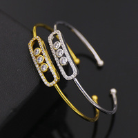 2017 New Style Fashion Jewelry Brand Open Bangles Gold Color Full Crytal Three CZ Zircon Bracelets