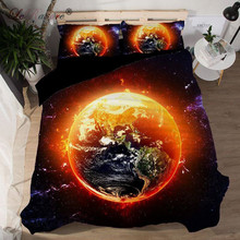 ФОТО leradore 3d space printed bedding set polyester quilt cover with pillowcases universal scenic bed bag set 3 pieces home textiles