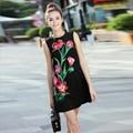 Мода Платье 2016 Летний Новый Урожай Incity Рукавов Цветы Вышивка Старинные Краткое Slim Mini Черный Улица Платье