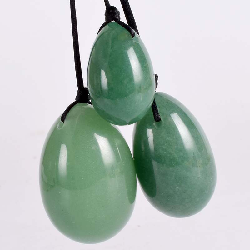 Jade Massage Egg Set Drill Natural Aventurine Yoni Egg Mineral Quartz Healing Ball Kegel Exercise Pelvic Floor Muscle For Women
