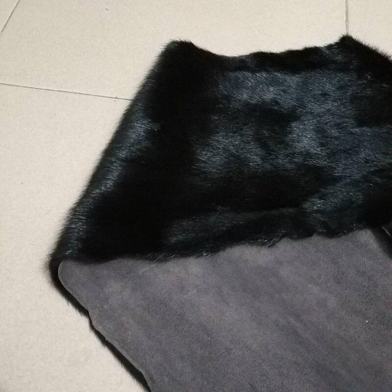 Fourrure de vison brute 22 cm * 50 cm fourrure d'animal lisse de haute qualité peau noire fourrure naturelle