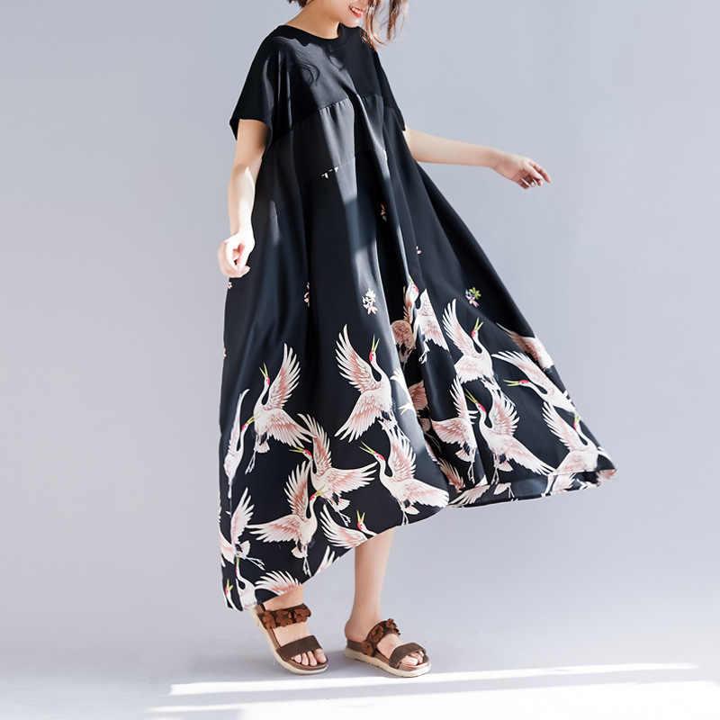 Johnature, простые неправильной формы, женское платье, лето 2019, с принтом, свободное, из кусков, для отпуска, повседневное, короткий рукав, платья, новинка, черное