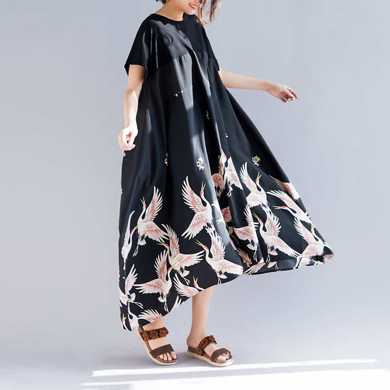 Johnature Simple Irregular Women Dress 2019 Summer Print Loose Patchwork Vacation Casual Short Sleeve Dresses New Black