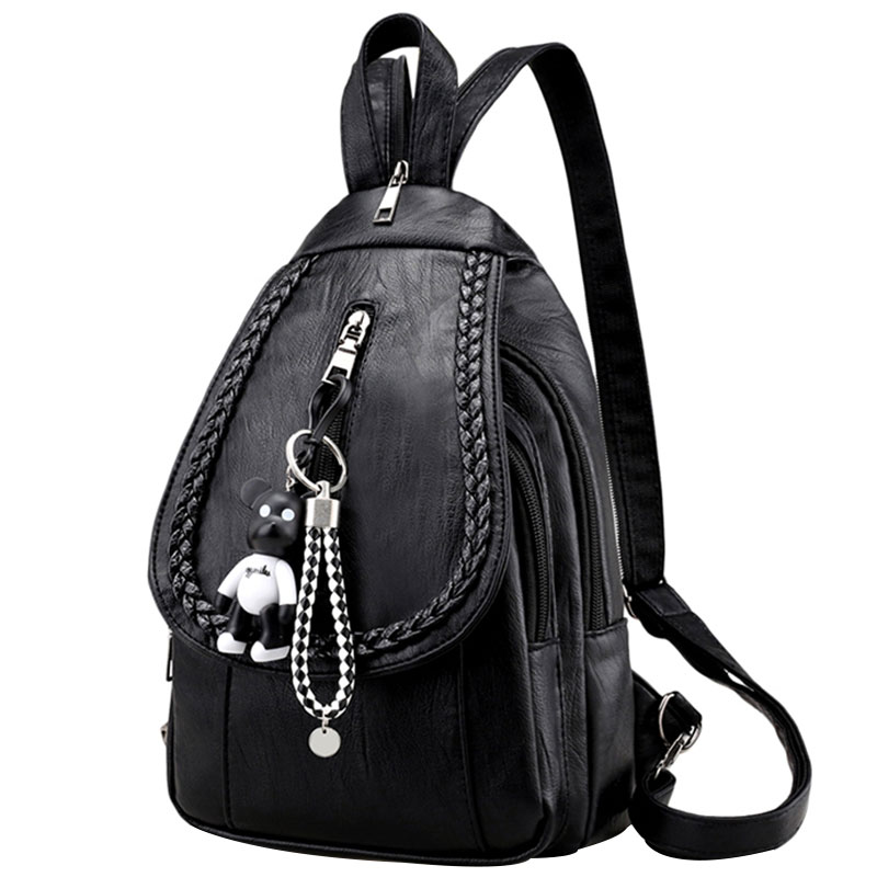 Amasie Small Black Genuine Leather Backpack Female School Bag Book Bag Cow Leather Bag Sac A Dos Bagpack for Teenages EGT9004 цены
