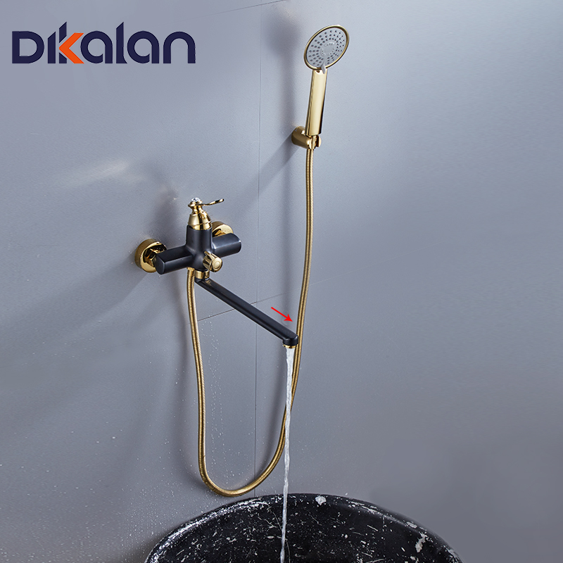 DIKALAN 1 Set Bath Shower Faucet Black&gold color Fixed Rotatable Type Single Holder Dual Control Classic Style Faucet D2207-28 youdozone a universal ball style rotatable car holder set for gps more silver black