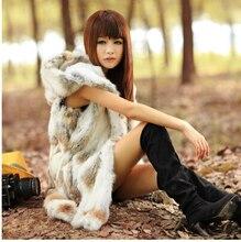 FAUX FUR rabbit fur vest with hooded women's slim  rabbit fur coat winter fur jacket Free shipping