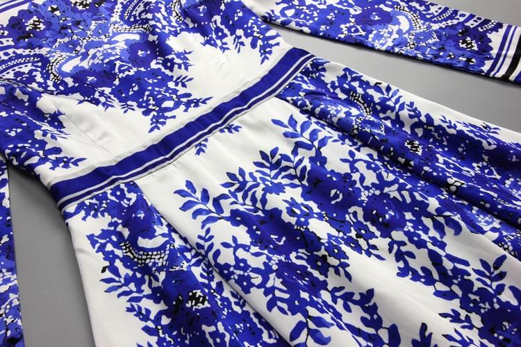 Runway Azul Manga Vestidos Primavera Impresión Maxi Femme Y Porcelana Elegante Mujeres Blanco Larga RgUwPx