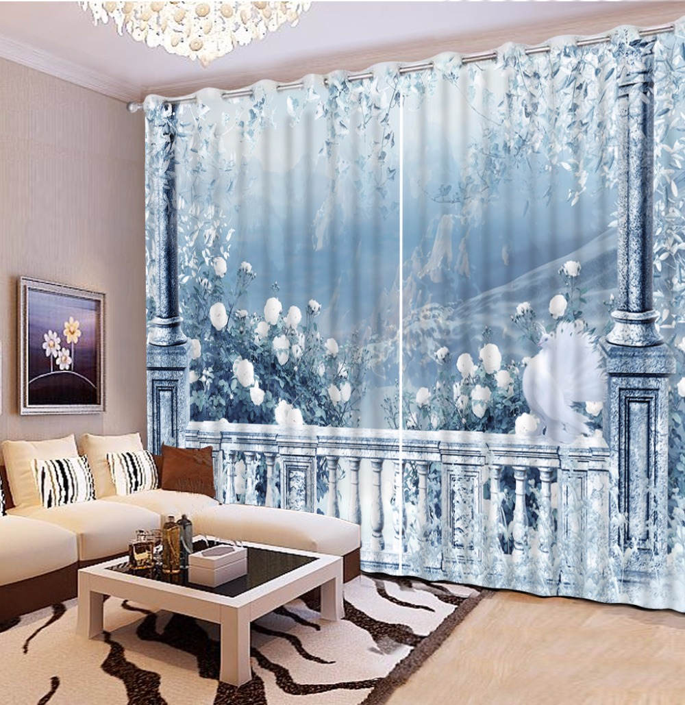 Customize modern grommet 3d curtains for living room - European style curtains for living room ...