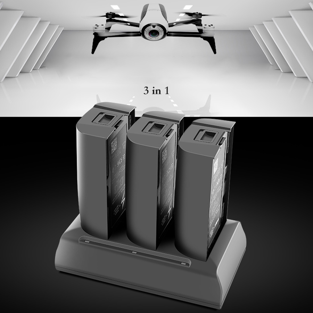 HOBBYINRC 3 en 1 chargeur de batterie pour perroquet bebop 2 Drone FPV pour accessoires de Drone perroquet-prise US/EU