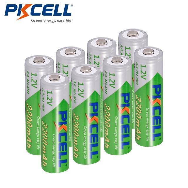 8Pcs/PKCELL AA Batterie NIMH 1,2 V 2200mAh Ni Mh 2A 1,2 Volt Geringe selbstentladung Durable AA Akkus Bateria Baterias