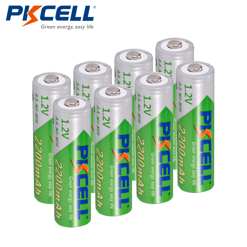 8Pcs/PKCELL AA Battery NIMH 1.2V 2200mAh Ni-MH 2A 1.2 Volt Low Self-discharge Durable AA Rechargeable Batteries Bateria Baterias image
