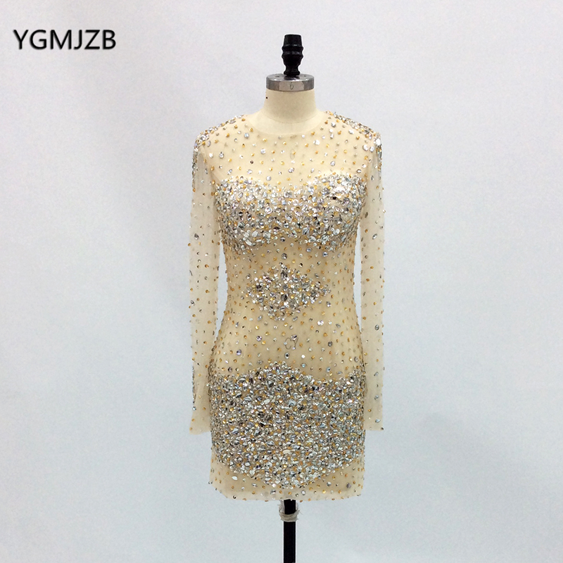 <font><b>Sexy</b></font> Prom <font><b>Dresses</b></font> 2019 Heavy Beads Crystal Long Sleeves Nude Short <font><b>Evening</b></font> <font><b>Dresses</b></font> Women Formal Party <font><b>Dress</b></font> Robe De Soiree image