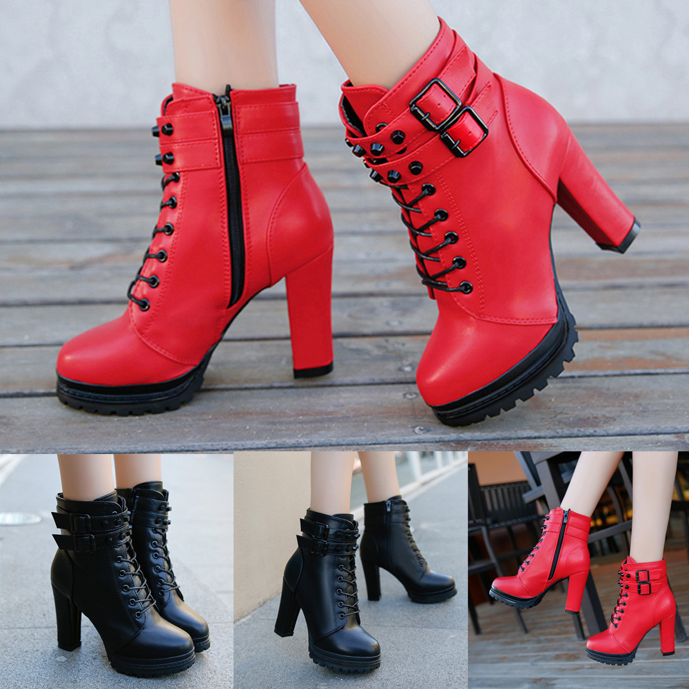 shop red High Heel Martain Leather Lace-Up Boots