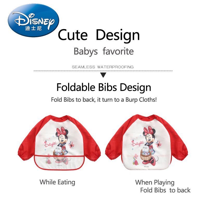 Baby Bibs Long Sleeve Cartoon Cotton Waterproof Bib Burp Clothes Baberos Baby Stuff Disney Accessory
