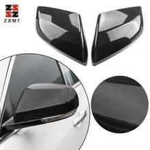 цена на ZXMT 2PCS Carbon Fiber ABS Side Rearview Mirror Cover Trim For Cadillac ATS-L 2014-2018