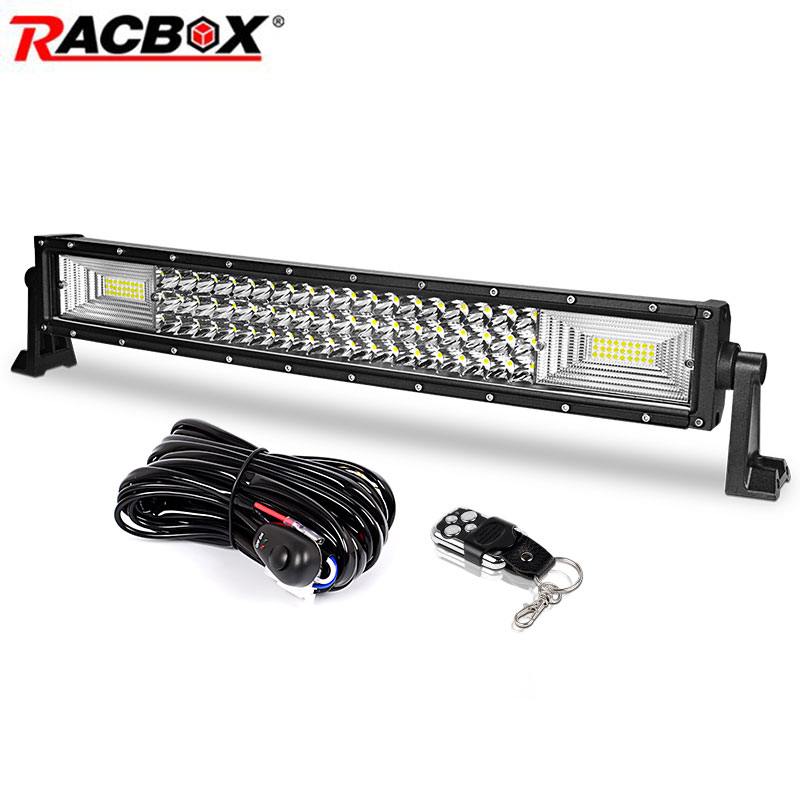 цена 3-Row 22 inch 324w Curved LED Light Bar Offroad Led Bar Flood Spot Combo Beam for Jeep ATV 4WD Truck SUV 12V 24V LED Work Light онлайн в 2017 году