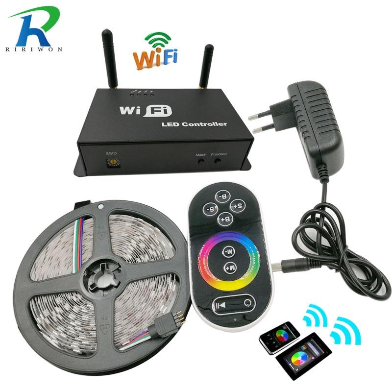 RiRi won SMD RGB led Strip light Wifi Controller 5050 rgb led light led tape diode ribbon 60leds/m dc 12v adapter set 25m 15m led wifi strip 5050 rgb waterproof diode tape ribbon rgb wifi controller rgb amplifier led adapter dc12v power supply