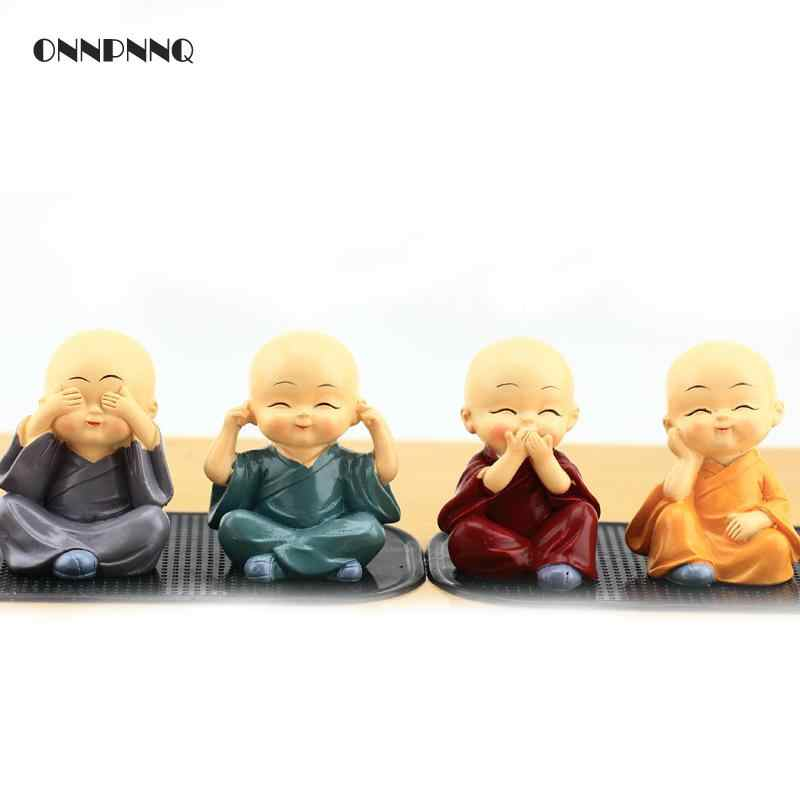 1pcs Creative Resin Little Monks Kung Fu Boy Crafts Figurine Cute Doll Buddha Statue Miniature Figurines Car Ornaments Gifts
