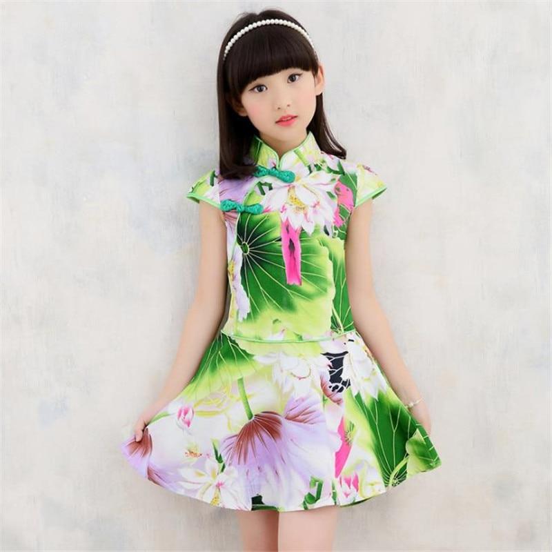 Floral Baby Girl Autumn summer Dresses Kid Chinese Style chi-pao cheongsams New Year gift Children's cheongsams Guzheng costumes