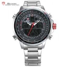 Winghead shark sport reloj de los hombres de lujo relogio masculino banda de acero negro dual time fecha de alarma lcd digital de cuarzo relojes/sh325