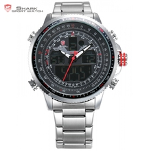 Luxury Winghead SHARK Sport Watch Men Black Dual Time Date Alarm Steel Band Relogio Masculino LCD Quartz Digital Watches /SH325