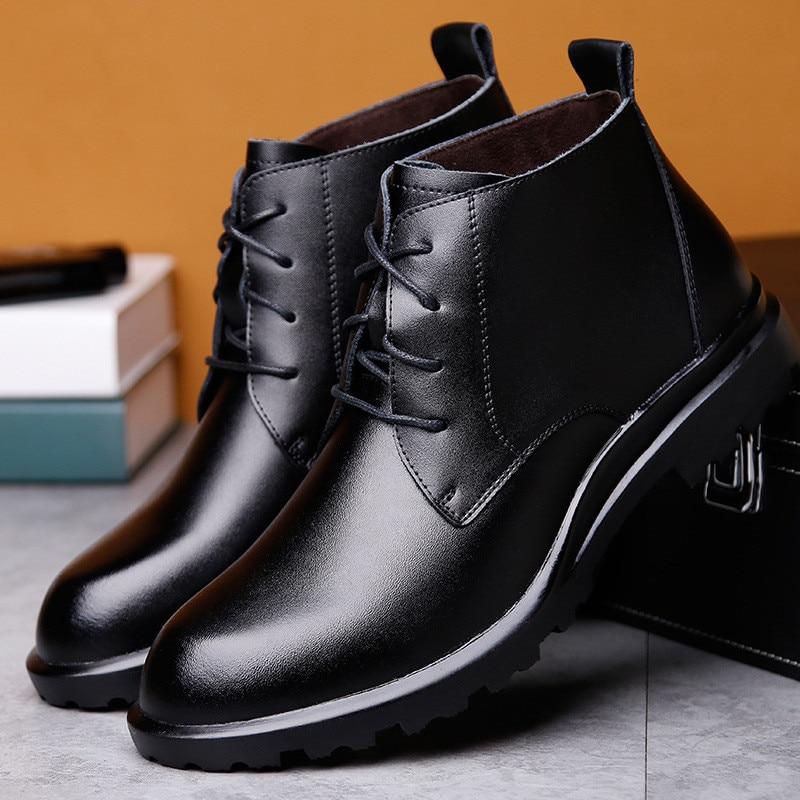 Merkmak Warm Genuine Leather Men Boots Winter Big Size38-49 Ankle Boots Men's Lace Up Comfortable Non-slip Male Fur Snow Boots