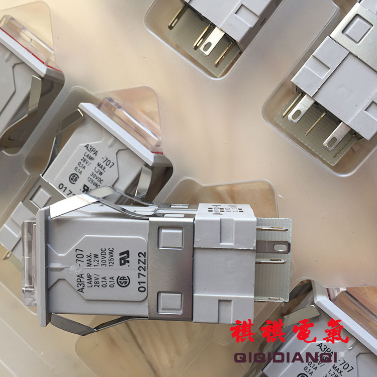 Original new 100% Japan import A3PA-707 A3PA-90G12 self reset button switch white light 24VDC 2 normally open 2 normally closed все цены