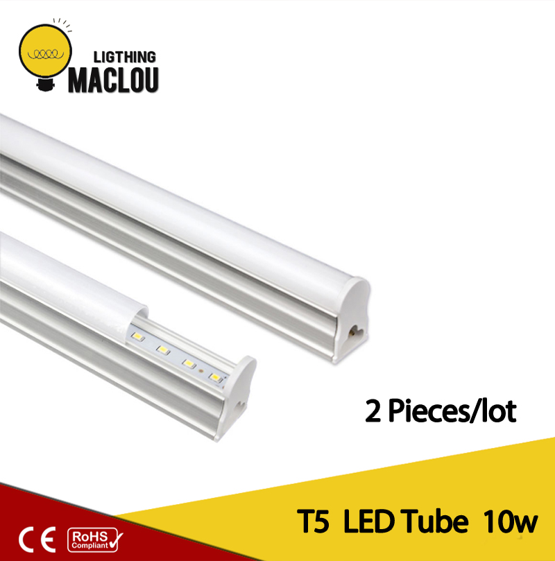 MACLOU 2pcs LED Tube T5 Light 60CM 220V LED Fluorescent Tube LED T5 Tube Lamps 10W Cold White Light Lampara Ampoule PVC Plastic 2pcs set t5 led light tube ac85 265v 2 5w wall lamps 1ft led t5 tube fluorescent lamp lights connect cord power switch cable
