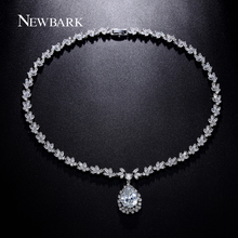 NEWBARK Delicate Ice Flower Necklace Pendant AAA+ CZ Diamond Statement Necklace Women Engagement Jewelry Collares Christmas