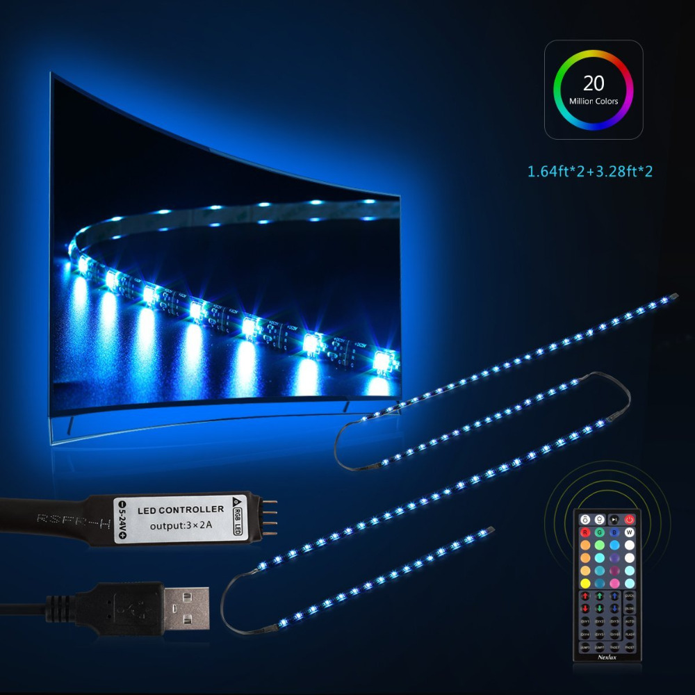 Oobest 3m RGB LED TV Backlight Flexible Wardrobe Strip Light PC Background Lighting Kit With 44Key IR Controller