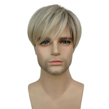 StrongBeauty Men Wig Short Straight Blonde Mix Synthetic Natural Full Wigs