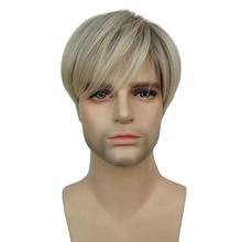 StrongBeauty peluca corta recta para hombre, mezcla de rubio sintético Natural, pelucas completas