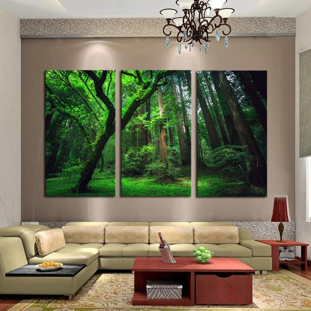 3 Panneaux Vert Forêt Hd Toile Impression Peinture œuvre Moderne