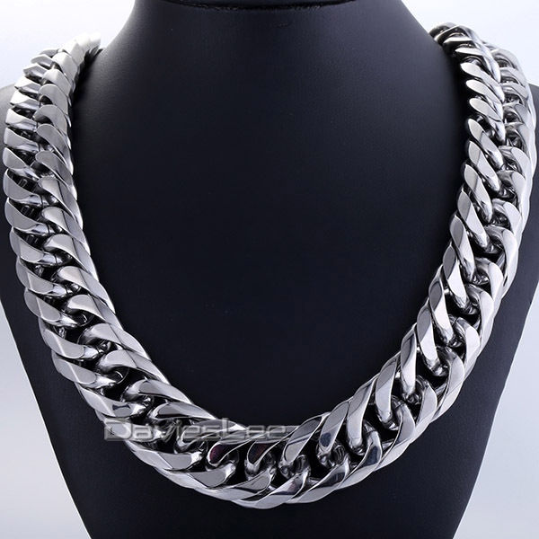 Fashion Gift 18mm Mens Chain Boy Biker Heavy Silver Tone Cut Double Curb Link Rombo 316L Stainless Steel Necklace Jewelry DLHN54 mens jewelry 316l stainless steel silver silver cross skeleton cool lion pendant necklace black beads fashion stone rosary chain